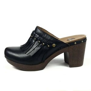 Dansko 'Deni' Black Leather Platform Mule EUR 40